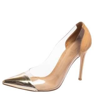 Gianvito Rossi Metallic Gold Suede and PVC Plexi Pumps Size 40