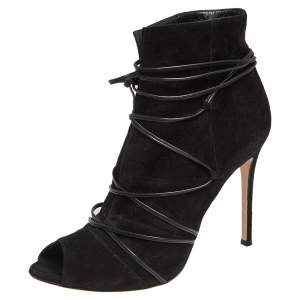Gianvito Rossi Black Suede Ellie Open Toe Ankle Boots Size 40
