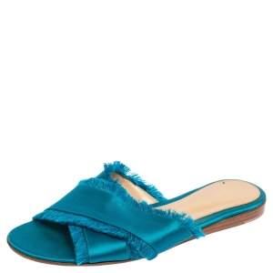 Gianvito Rossi Blue Satin Barth Flat Sandals Size 36.5