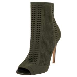 Gianvito Rossi Green Knit Fabric  Peep Toe Ankle Boot Size 36