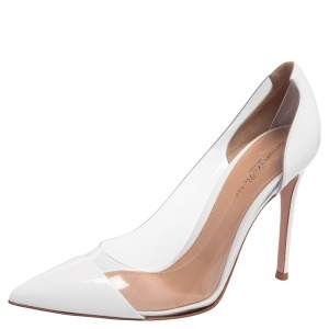 Gianvito Rossi White Patent Leather and PVC Plexi Pointed Toe Pumps Size 39