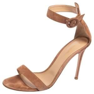 Gianvito Rossi Beige Suede Portofino Ankle Strap Sandals Size 41