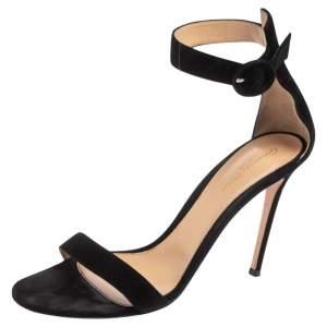 Gianvito Rossi Black Suede Portofino Ankle Strap Sandals Size 41