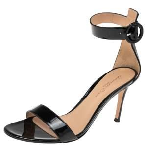 Gianvito Rossi Black Patent Leather Portofino Ankle Strap Sandals Size 36