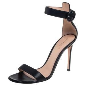 Gianvito Rossi Black Leather Portofino Ankle Strap Sandals Size 37.5