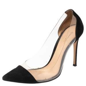 حذاء كعب عالى جيانفيتو روسى  بليكسى بلاستيك مشمع وسويدي أسود مقدمة مدببة مقاس 36.5