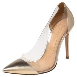 حذاء كعب عالى جيانفيتو روسى بليكسى بلاستيك مشمع وجلد ذهبي مقاس 37