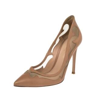 Gianvito Rossi Beige Leather and Mesh Pointed Toe Pumps Size 36