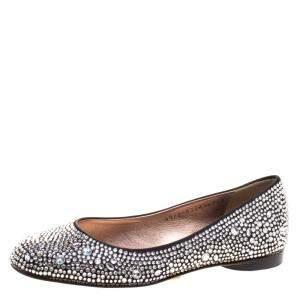 Gina Black Crystal Embellished Satin Ballet Flats Size 36