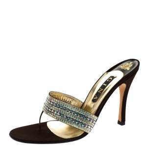Gina Brown Leather And Satin Crystal Embellished Thong Sandals Size 41