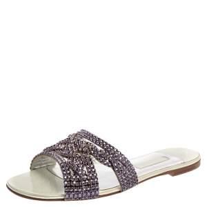 Gina Metallic Purple Crystal Embellished Leather Athena Flat Slides Size 41.5