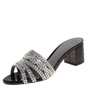 Gina Black Croc Embossed Patent Leather And Crystal Embellished Visage Slide Sandals Size 38.5