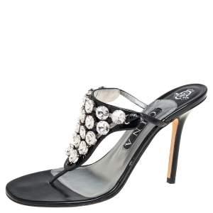 Gina Black Patent Leather Crystal Embellished Thong Sandals Size 39