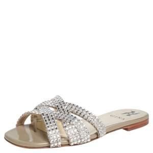 Gina  Grey Crystal Leather Orion Slide Sandals Size 37