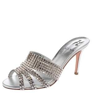 Gina Silver Leather Odile Embellished Slide Sandals Size 37