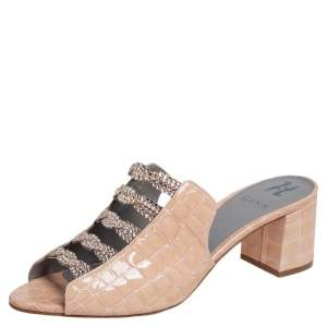 Gina Beige Croc Embossed Patent Leather Cosmos Mule Sandals Size 41.5