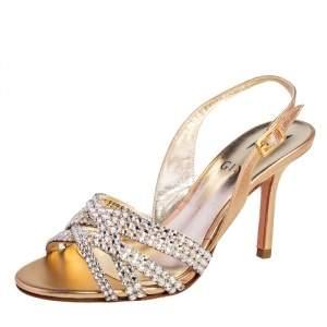 Gina Metallic Gold Leather Maggie Crystal Embellished Slingback Sandals Size 35