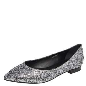 Gina Metallic Silver Glitter Pointed Toe Ballet Flats Size 38