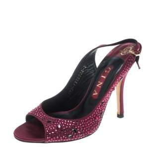 Gina Red Satin Crystal Embellished Peep Toe Slingback Sandals Size 38
