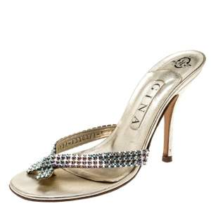 Gina Metallic Gold Leather Crystal Embellished Sandals Size 38