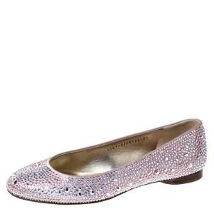 Gina Pink Crystal Embellished Satin Ballet Flats Size 37.5