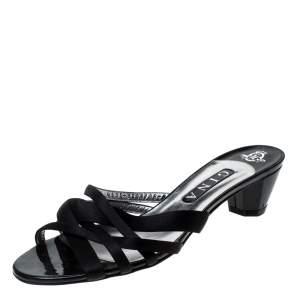 Gina Black Satin Strappy Open Toe Sandals Size 41