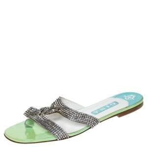 Gina Metallic Silver Leather Crystal Embellished Flat Slides Size 41