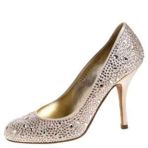 Gina Beige Crystal Embellished Satin Pumps Size 37