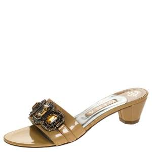 Gina Beige Patent Leather Crystal Embellished Open Toe Sandals Size 39