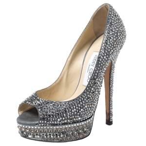 Gina Grey Crystal Embellished Leather Peep Toe Platform Pumps Size 37.5