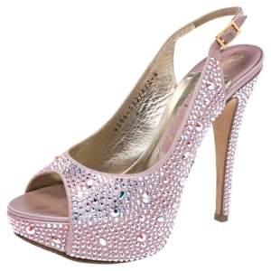 Gina Pink Satin Crystal Embellished Platform Peep Toe Slingback Sandals Size 37
