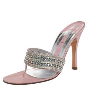 Gina Pink Satin Crystal Embellished Thong Sandals Size 38.5