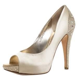 Gina Gold Crystal Embellished Satin Jenna Peep Toe Platform Pumps Size 38
