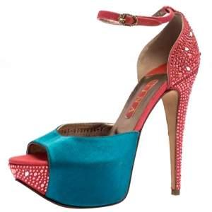 Gina Multicolor Satin And Crystal Embellished Canvas Destiny Platform Sandals Size 40