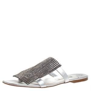 Gina Silver Crystal Embellished Leather Flat Slides Size 40