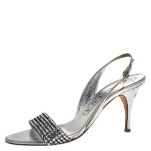 Gina Silver Crystal Embellished Slingback Sandals Size 37.5