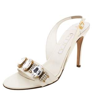 Gina White Leather Crystal Embellished Slingback Sandals Size 41