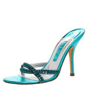 Gina Blue Crystal Embellished High Heel Slides Size 38