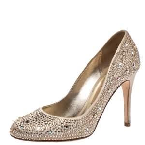 Gina Beige Crystal Embellished Satin Pumps Size 39