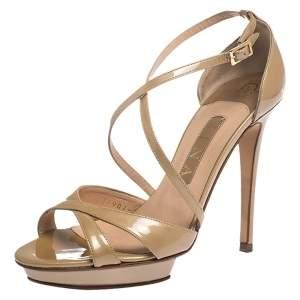 Gina Beige Patent Leather Strappy Platform Sandals Size 38
