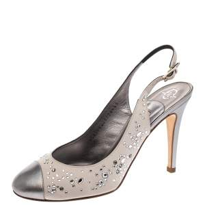 Gina Metallic Silver Satin and Leather Crystal Embellished Slingback Sandals Size 37.5