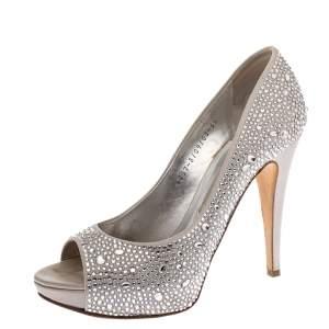 Gina Grey Satin Crystal Embellished Peep Toe Platform Pumps Size 38.5