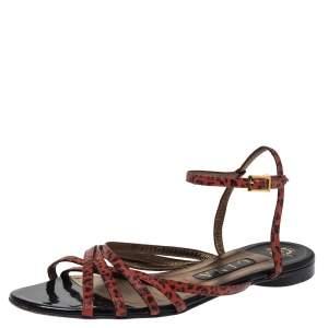 Gina Orange/Black Animal Print Leather Strappy Flat Sandals Size 38.5
