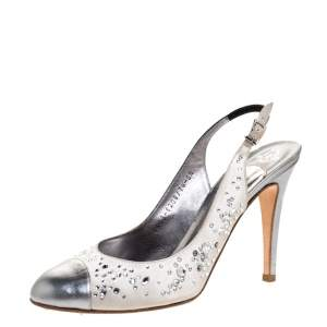 Gina Metallic Silver Satin and Leather Crystal Embellished Slingback Sandals Size 38.5