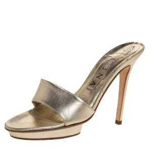 Gina Metallic Gold Leather Slide Sandals Size 37