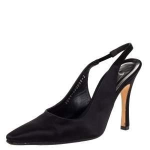 Gina Black Satin Pointed Toe Slingback Sandals Size 36