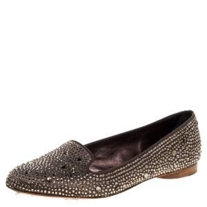 Gina Brown Crystal Embellished Satin Ballet Flats Size 38.5