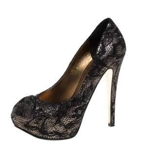 Gina Black/Silver Brocade Fabric Pleated High Heel Platform Pumps Size 36.5