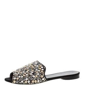 Gina Satin Crystal Embellished Flat Mules Size 39