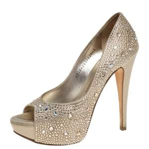 Gina Gold Leather and Crystal Embellished Satin Platform Pumps Size 38
